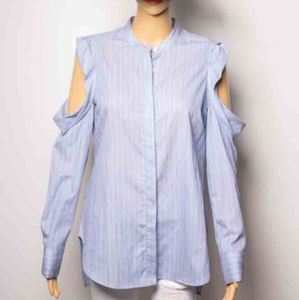New blue button down top w/ cold sholders